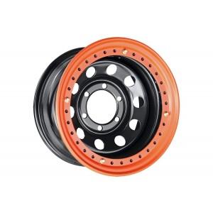 Диск усиленный Toyota / Nissan стальной черный 6x139,7 8xR15 d110 ET-19 с бедлоком (оранжевый)