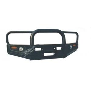 Powerful передний силовой бампер c центральной дугой и защитой фар на Nissan Patrol (Safari) Y60 (1987-1997)