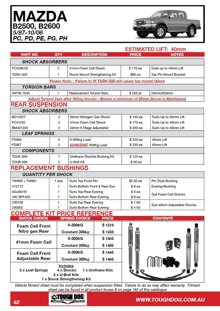 Tough Dog усиленная подвеска на Mazda B2500, B2600, Bravo 5/87–10/06