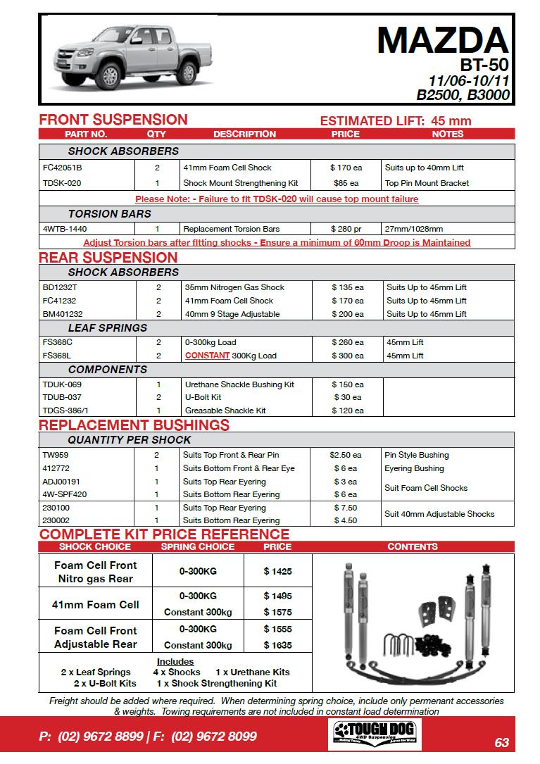 Tough Dog усиленная подвеска на Mazda BT50 11/06–10/11