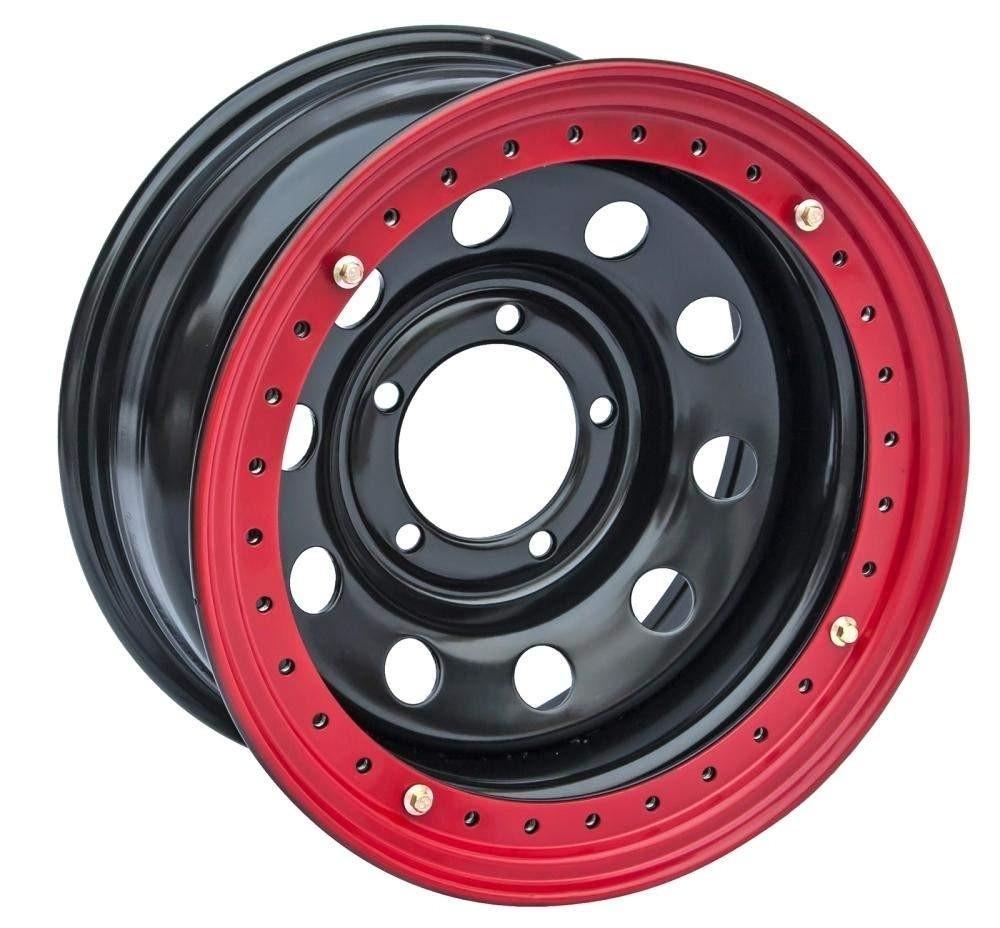 Диск усиленный УАЗ стальной черный 5x139,7 10xR16 d110 ET-44 с бедлоком (красный)
