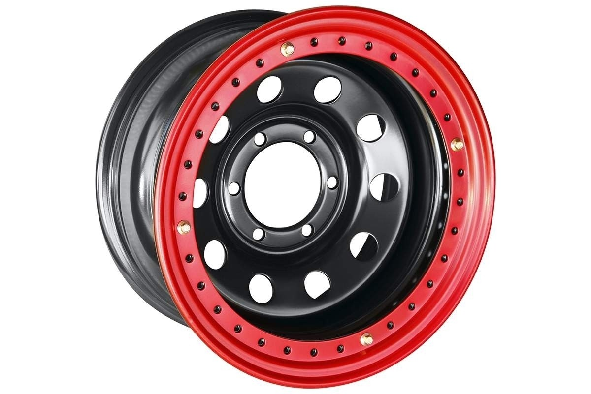 Диск усиленный Toyota / Nissan стальной черный 6x139,7 8xR16 d110 ET-19 с бедлоком (красный)