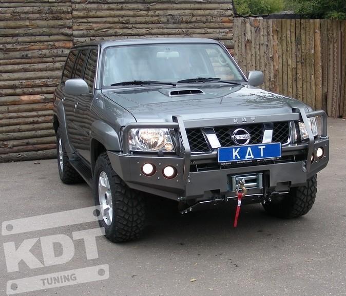KDT силовой передний бампер со съемным кенгурином на Nissan Patrol Y61