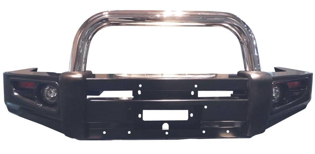 Powerful передний силовой бампер с хромированной дугой на Toyota Hilux VII (2006-2014)