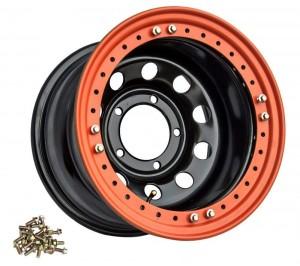 Диск усиленный УАЗ стальной черный 5x139,7 8xR16 d110 ET-19 с бедлоком (оранжевый)