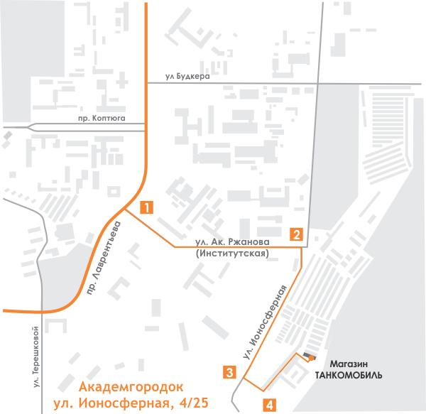 Схема проезда к магазину Танкомобиль